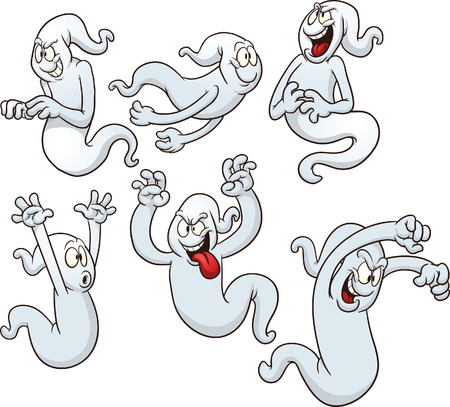 Ghosts clip art  Vector cartoon illustration with simple gradients  Each pose in a separate layer   Иллюстрация