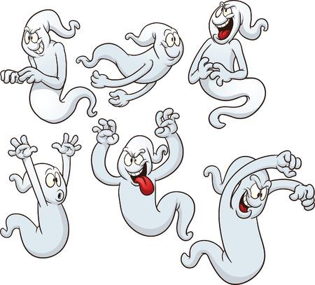 Los fantasmas de imágenes prediseñadas Vector ilustración de dibujos animados con pendientes sencillos Cada postura en una capa separada