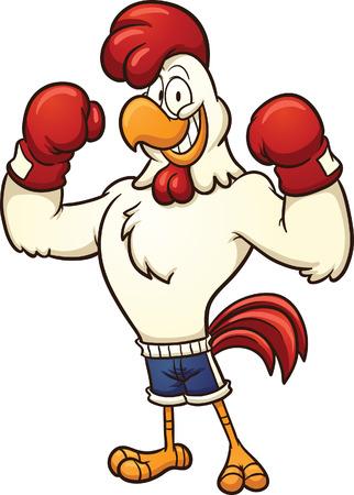 すべて 1 つのレイヤーでボクシング鶏簡単なグラデーション ベクター漫画イラストをクリップアートします。  イラスト・ベクター素材