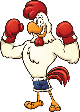 Clip art of a boxing chicken  Vector cartoon illustration with simple gradients  All in a single layer   Ilustração