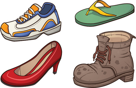 Footwear clip art Vector cartoon illustration with simple gradients Each on a separate layer