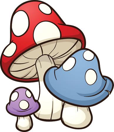Cute cartoon mushrooms  Vector clip art illustration with simple gradients  Illusztráció