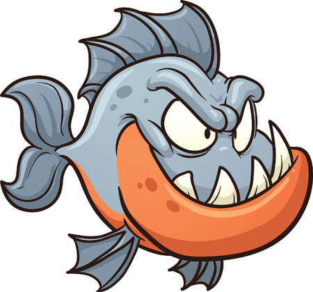 Cartoon piranha  Vector clip art illustration with simple gradients  All in a single layer  矢量图像