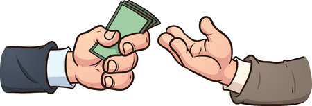giving money: Hand giving money clip art illustration with simple gradients  All in a single layer
