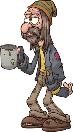 homelessness: Cartoon mendicante Illustrazione di clip art con sfumature semplici Tutto in un unico strato