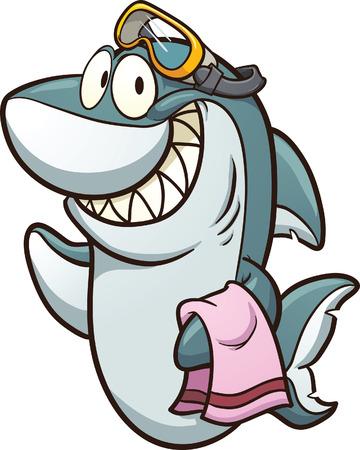 1 つのレイヤーのすべての簡単なグラデーション ベクトル クリップ アート イラスト漫画サメ身に着けているゴーグルします。