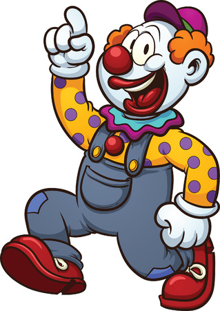 Happy cartoon clown  Vector clip art illustration with simple gradients  All in a single layer  Ilustracja