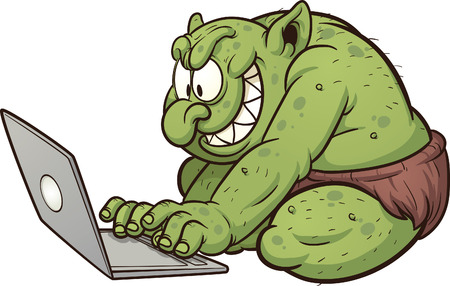 using laptop: Fat internet troll using a laptop  Vector clip art illustration with simple gradients  All in a single layer