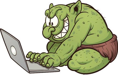 Vet internet troll behulp van een laptop Vector clip art afbeelding met eenvoudige gradiënten alles in een enkele laag