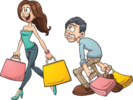 chicas compras: Pareja de dibujos animados de compras Vector de imágenes prediseñadas ilustración con gradientes simples Cada personaje en una capa separada