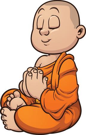 moine: Cartoon moine bouddhiste m�ditant Vector clip art illustration avec des d�grad�s simples Tout en une seule couche Illustration