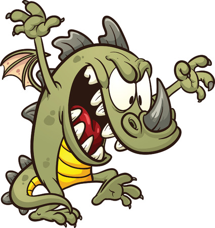 havoc: Cute cartoon dragon wreaking havoc  Vector clip art illustration with simple gradients  All in a single layer