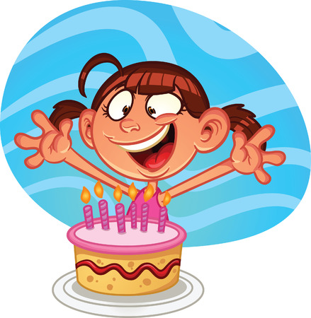 Cartoon girl with birthday cake  Vector clip art illustration with simple gradients  Girl and background on separate layers  Illustration