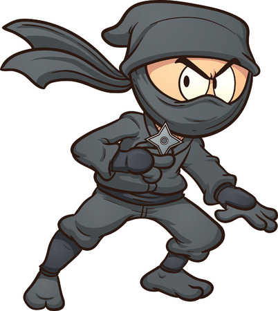 ninja: Cartoon Ninja, der einen Stern Vektor Clip-Art-Illustration mit einfachen Farbverl�ufen Alles in einer einzigen Schicht Illustration