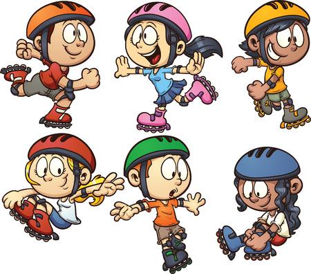 Inline skating kids  Иллюстрация