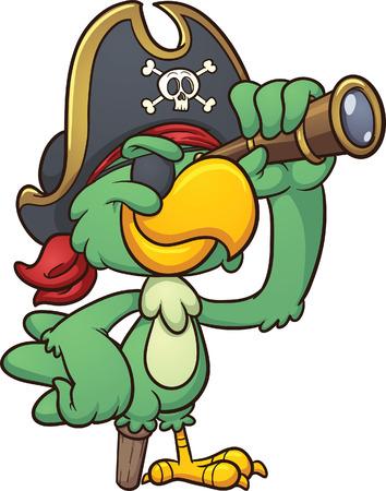 Cartoon perroquet de pirate regardant à travers une lunette Banque d'images - 25690438