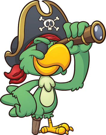 pirate cartoon: Cartoon pirate parrot looking through a spyglass