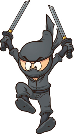 Cartoon ninja jumping   Ilustrace