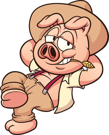 cerdo caricatura: Agricultor de dibujos animados de cerdo en reposo Vectores