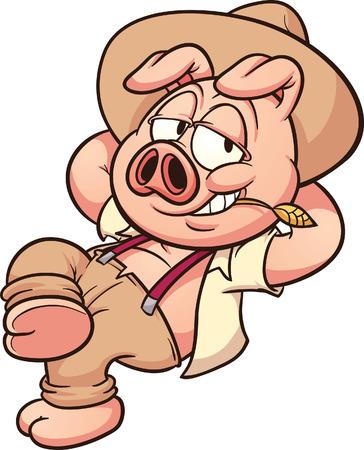 Cartoon farmer pig resting