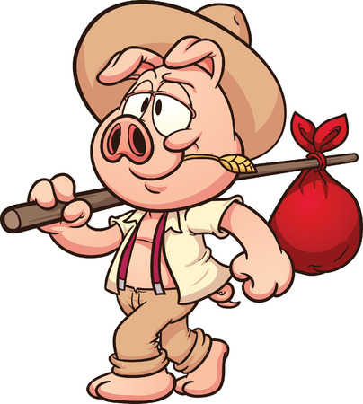 Little cartoon farmer pig