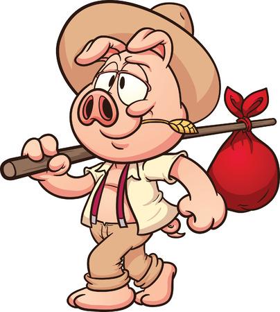 cerdo caricatura: Pequeño cerdo granjero de la historieta