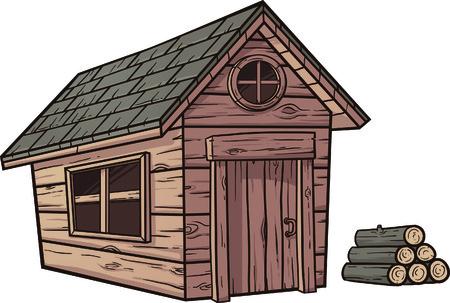 cabaña: Cabina de madera de dibujos animados Vectores