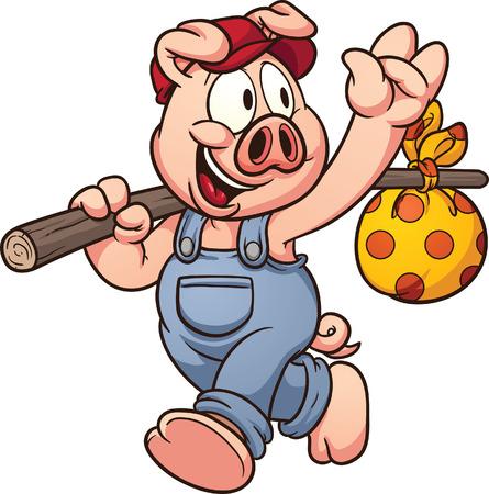 Au revoir en agitant porc de bande dessinée Banque d'images - 26037407
