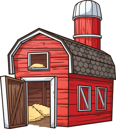 Red cartoon barn