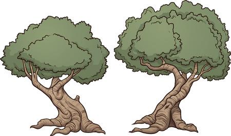 tree isolated: Gnarly cartoon trees illustration Illustration