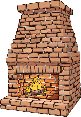 Cartoon brick fireplace  Illustration