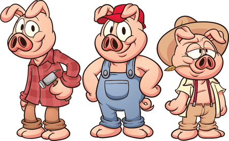 three animals: Three little pigs