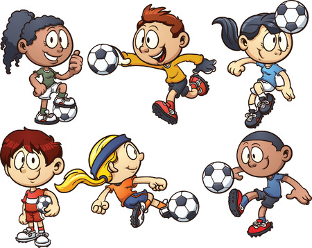 kicking ball: Cartoon kids playing soccer