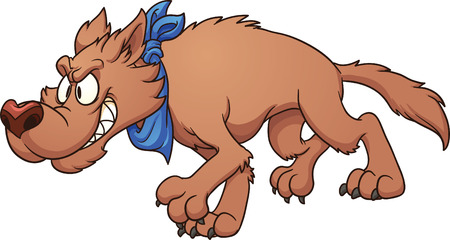 stalking: Cartoon wolf stalking  Vector clip art illustration with simple gradients  All in a single layer