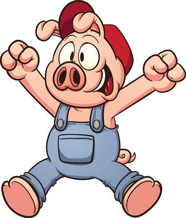 Happy cartoon pig jumping