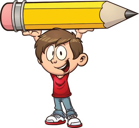 Cartoon jongen die een groot potlood