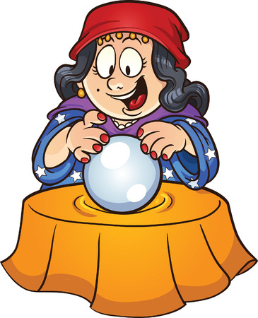 Gypsy woman looking at a crystal ball Vector clip art illustration with simple gradients All in a single layer