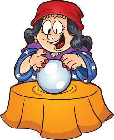 Zigeuner vrouw op zoek naar een kristallen bol Vector clip art afbeelding met eenvoudige gradiënten alles in een enkele laag