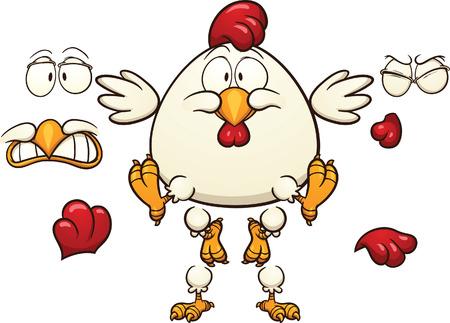 pollo caricatura: Pollo de la historieta listo para la animación Vector de imágenes prediseñadas ilustración con gradientes simples Cada elemento en una capa separada Vectores