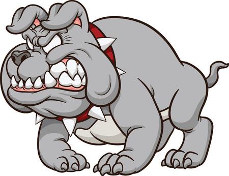 growling: Cartoon bulldog mascot