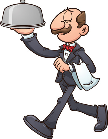 Cartoon waiter  Vector clip art illustration with simple gradients  All in a single layer