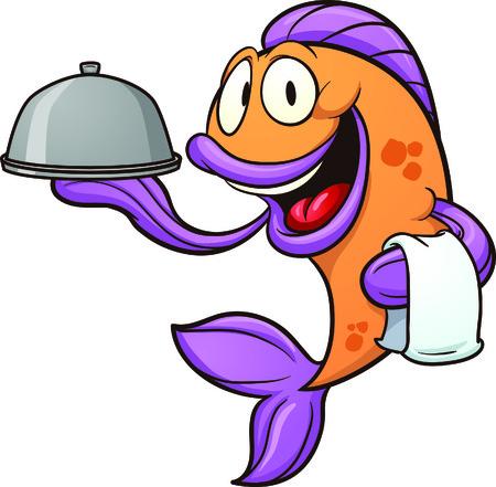 charolas: Camarera de la historieta pescados Vector de imágenes prediseñadas ilustración con gradientes simples de pescado y la bandeja en capas separadas