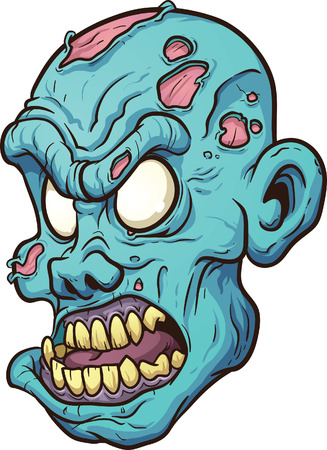 Cartoon zombie head  Vector clip art illustration with simple gradients  All in a single layer   Ilustração