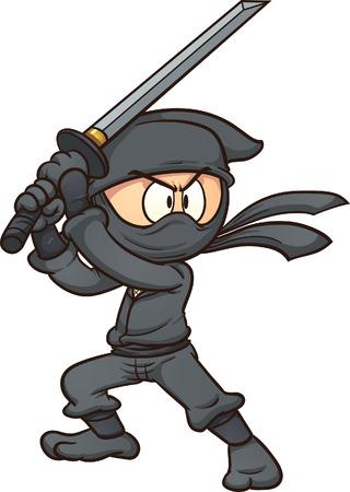 japanese ninja: Cartoon ninja holding a sword  Vector clip art illustration with simple gradients  All in a single layer