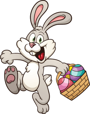 Cartoon Easter bunny jumping with egg basket  Vector clip art illustration with simple gradients  All in a single layer Stock fotó - 27373434