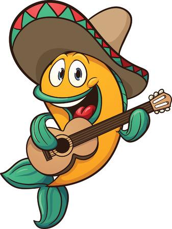 マリアッチ魚ギター ベクトル クリップ アート イラストを 1 つのレイヤーのすべての簡単なグラデーションで歌う
