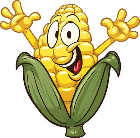 elote caricatura: Feliz de la historieta de maíz Vector de imágenes prediseñadas ilustración con gradientes simples Todo en una sola capa