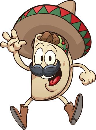 cartoon taco wearing a sombrero vector clip art illustration rh 123rf com taco clipart border taco clipart art