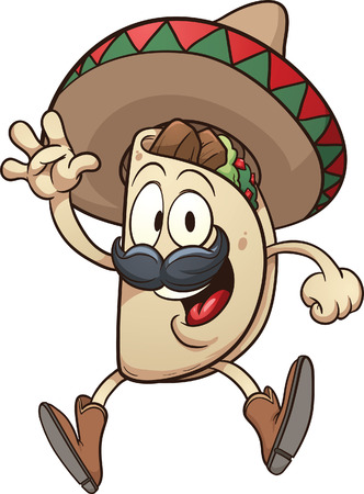 Cartoon taco wearing a sombrero  Vector clip art illustration with simple gradients  Taco and sombrero on separate layers   Illustration