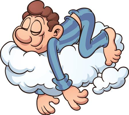 Man slapen op een wolk Vector cartoon illustratie met eenvoudige gradiënten alles in een enkele laag